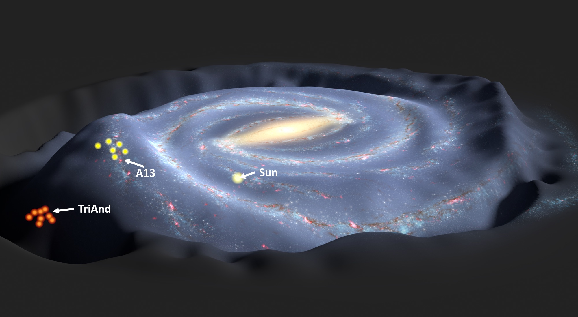 An ancient fly-by of our Milky Way by a neighbour may have warped our galaxy into a huge galactic wave, scattering stars 14,000 light years above and below ...