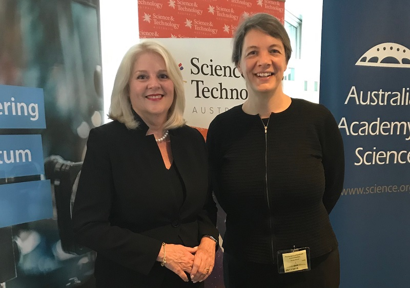 Michelle Simmons and Minister for Industry and Science Karen Andrews