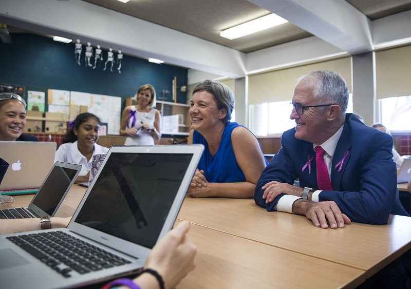 Michelle Simmons at a school with Prime Minister Malcolm Turnbull