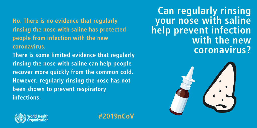 rinsing nose with saline doesn't protect from COVID-19 coronavirus