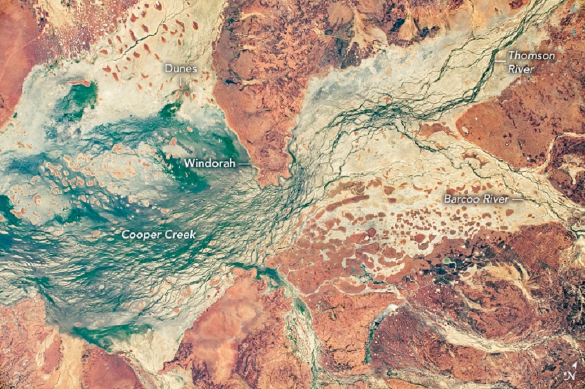Cooper Creek Queensland from the International Space Station